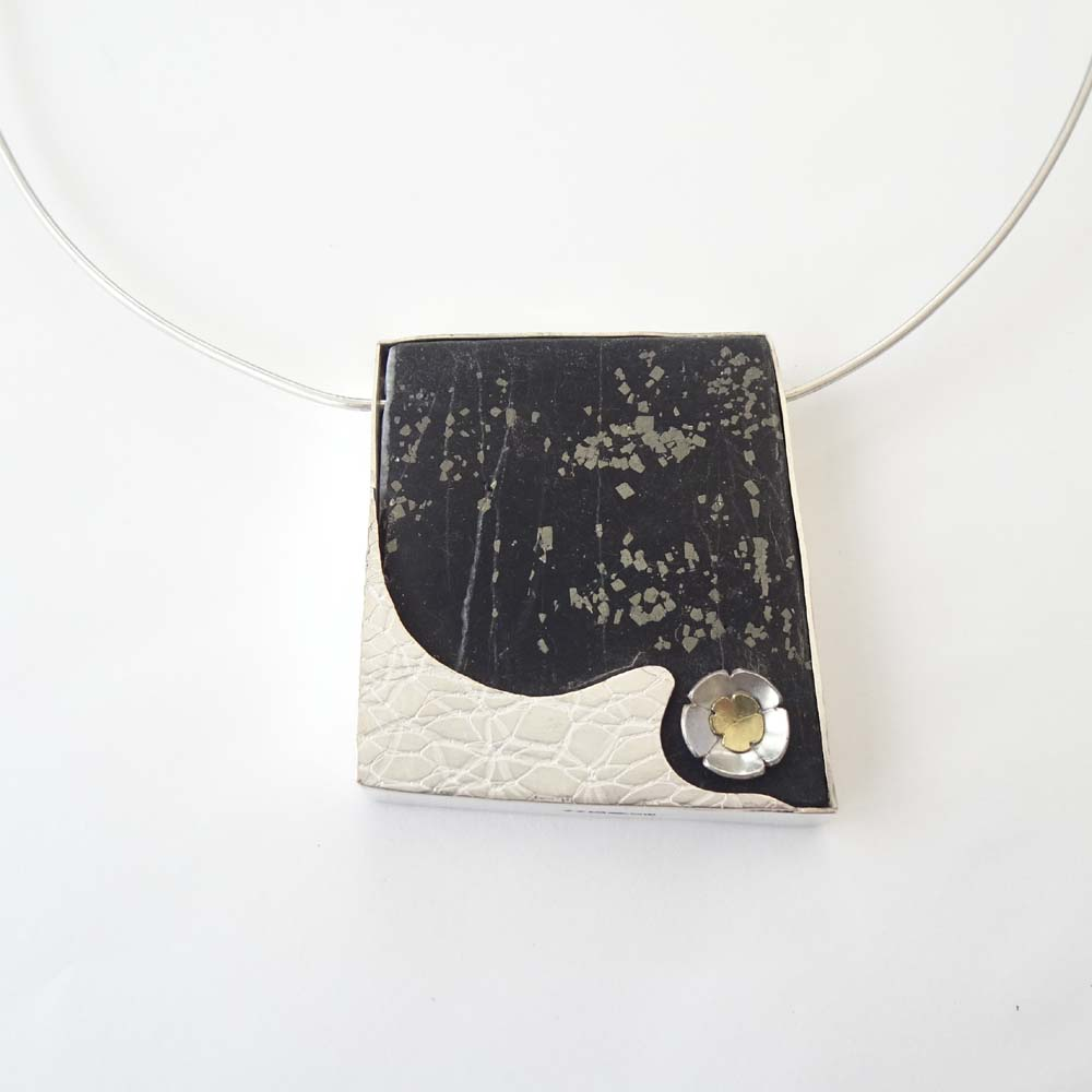 ST1149 Slate with Pyrite & Silver pendant