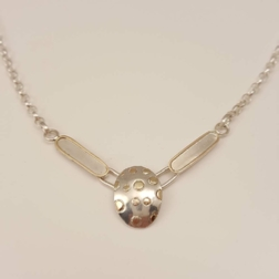 ST1151 9ct gold decoration on silver necklace