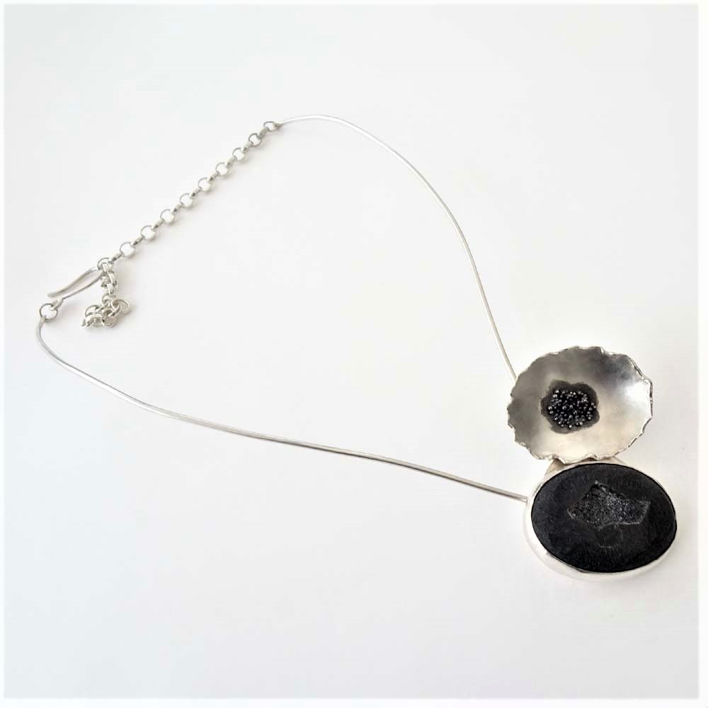 ST1187 Black Druzy whole necklace