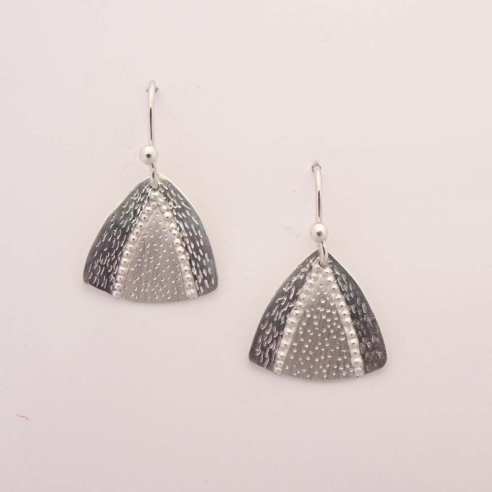 ST1260 Argentium silver drop earrings with granulation