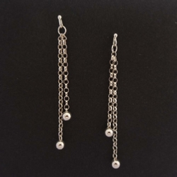 ST1268 Ball & Chain silver earrings