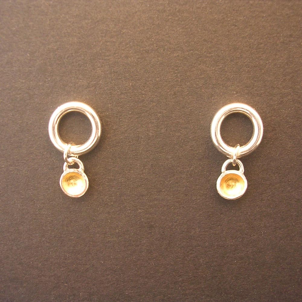 ST512 gold lined dome earrings