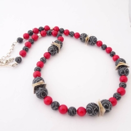 ST782 Burnt Jade & Sea bamboo necklace