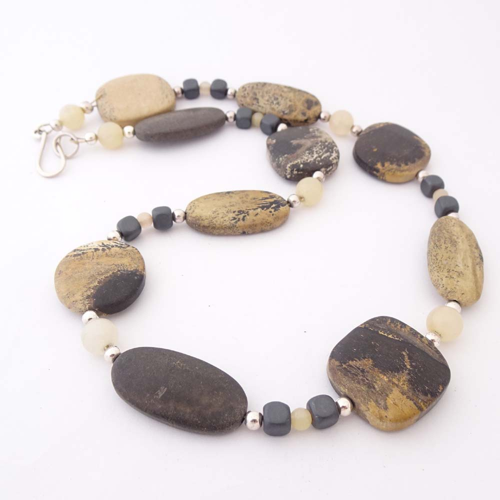 ST870 yellow/grey jasper beads