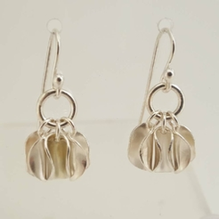 ST926 Silver drop earrings with 3 curved discs.