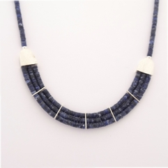 ST947 Sodalite heishi Egyptian style necklace.